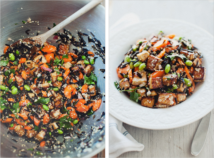 wild rice with tofu and miso dressing